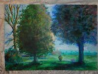 NICE Vintage Signed Modernist Oil on Board Landscape Painting