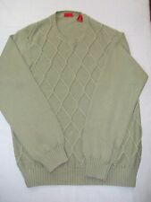 Izod Men's Sweater Size L Long Sleeve Crewneck Pullover Sage Green Cotton EUC