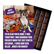 Funny Staffy Staffordshire Bull Terrier Dog Lover Birthday Gift Chocolate Card