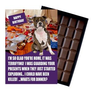 Funny Staffy Staffordshire Bull Terrier Dog Lover Birthday Gift Chocolate Card