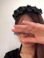 Women BLACK flower Halloween Party Hair Headband veil Crown tiara Prop Garland