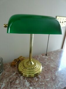 Vintage Brass Bankers Desk Lamp Green Glass Shade Pull Chain