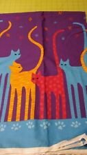 "2002 FABRIC TRADITIONS KITTY CATS AND PAW PRINTS COTTON FABRIC 1 YD 25"" / 44""W"