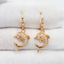 18K Yellow Gold Filled Clear Mystic Topaz Dolphin Drop Dangle Earrings Jewelry