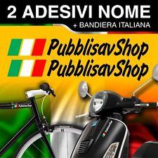 2 ADESIVI STICKERS NOME BANDIERA ITALIANA CASCO MOTO SCOOTER BICI AUTO BARCHE