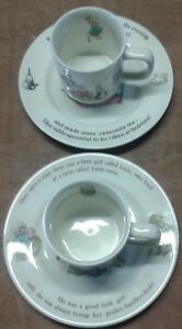 Peter Rabbit / Mrs Tiggy Winkle mugs and saucers.               A17