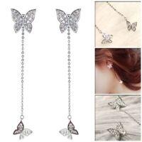 Damen Elegant Schmetterling Lang Quaste Kette Ohrringe Mode Geschenke Neu eN Ksy