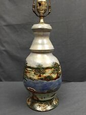 Hand Made Studio Pottery Ceramic Table Lamp Mint Condition Signed  Lake Scene