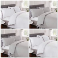 "Rapport ""Tassels"" Duvet Cover Bedding Set White Or Grey"