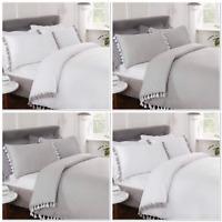 """Rapport """"Tassels"""" Duvet Cover Bedding Set White Or Grey"""