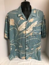 Vintage Silk Circa 1969 Blue Floral Hawaiian Camp Pocket Shirt Sz XL Button Down