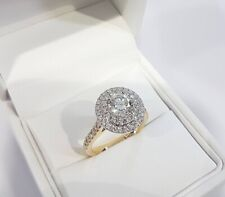 Cut Diamond Double Halo Engagement Ring 14k Yellow Gold Fn 1.86 Ct Round