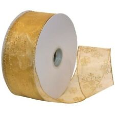 Gold Sparkle Snowflake on Sheer Wide Wired Ribbon 50 yd NEW christmas holiday