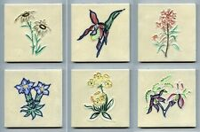 "Group of 6 tube-lined 4""sq Mid Century tiles by Pilkington's, 1957"