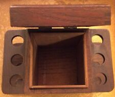 Vintage Alfred Dunhill Wooden Six Pipe Stand Rack & Humidor Tobacco Storage 10""