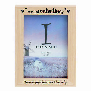 Personalised 1st Valentines ~ Love ~ Light Wooden Photo Frame