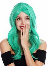 Perruque pour Femme Femme Long Léger Ondulé Raie Vert GFW2247