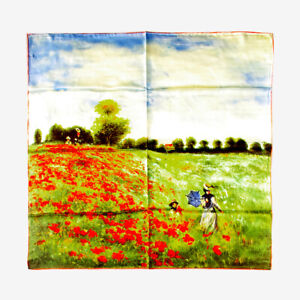 """Large Square 100% Charmeuse Silk Scarf Claude Monet """"Poppy Field in Argenteuil"""""""