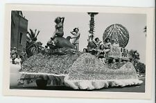 Beauty queen in bathing suits on Wpin Radio parade float. Vintage snapshot photo