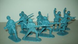Lot of nine  horizon blue  Armies in Plastic WW1 French Soldiers/Adrian helmets