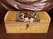 Vintage Made In Italy Velvet Jewelry Trinket Box Lock Key Lined w/Removable Tray