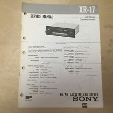 Sony Service Manual for the XR-17 Cassette Player Radio Car Stereo Repair