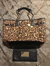 Big Buddha Black Quilted Animal Print Gold Tone Hardware TOTE & Leather WALLET