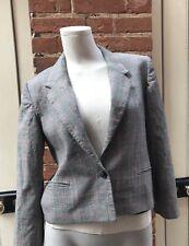 Vintage 80s St Michael Grey Red Check Wool Waist Length Jacket Blazer 10