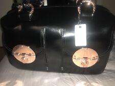 MIMCO BLACK PATENT LARGE TOTE BAG ZIP TOP TURNLOCK ROSE GOLD RRP$499 NEW