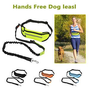Adjustable No Hands Leash Dog Pet Lead Waist Belt For Jogging Walking Running UK