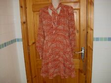 Atmosphere size 10 burnt orange vintage style pussy bow lined dress 50's 60's
