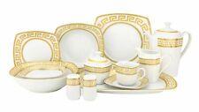 57 Piece Square Gold Greek Key Porcelain Dinner Serving Dish Set for 8 - White