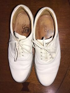 $400 MSRP ECCO World Class White Leather Golf Shoes Excellent Condition EU 45