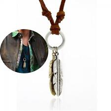 Jewelry Charm 2Wings Feather Pendant Choker Necklace Leather Chain