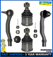 Front Set of 2 Lower Ball Joints & 2 Outer Tie Rod Ends For Honda Civic Acura EL