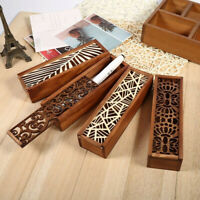 Wood Pencil Case Hollow Out Boxes Desktop Stationery Storage Holder Organizer QK