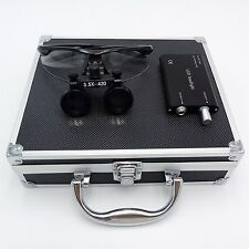 Dental Binocular Loupes 3.5X420mm Black + LED Head Light + Aluminum Box US STOCK