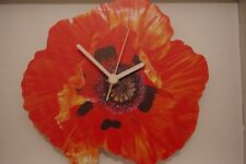 Poppy Flower novelty wooden wall clock British made from Lark Rise