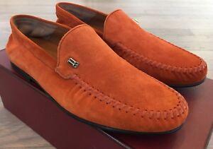 600$ Bally Cristian Sienna Orange Suede Loafers Size US 10 Made in Switzerland