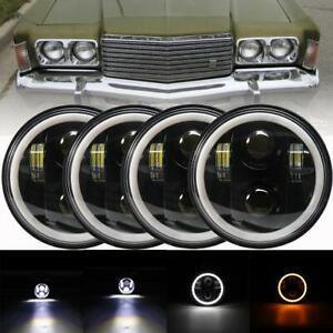 "4PCS 5 3/4"" 5.75 Projector LED Headlights Sealed Beam Ring Angel Eyes DRL Bulbs"