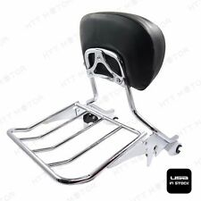 Chrome Backrest Sissy Bar w/ Luggage Rack For Harley Touring 09-17 Road King
