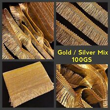 2 Meters Two Tone Golden Lurex Fringe Tassel Trim Saree Border Craft Sew On Lace
