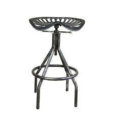 Industrial Swivel Bar Stool Cast Iron Tractor Seat Counter Height Stool Pub Blac