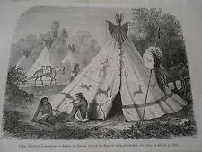 Amérique du Nord Camp d'Indiens Comanches Tipi Gravure 1876