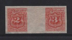 EL SALVADOR - #J18-#J19 - POSTAGE DUE GUTTER IMPERF STAMPS PRINTING ERROR (1896)
