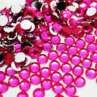 HOT PINK ACRYLIC ROUND RHINESTONES FLAT SILVER BACK ART CARDS CRAFTS DECORATION