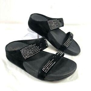 GUC Women's FitFlop Sandals Suede leather Black Flare Slide Rhinestones Sz 6
