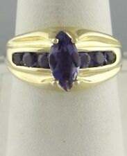 LADIES 14K YELLOW GOLD 1 3/4ct SYNTHETIC PURPLE MARQUISE ROUND TANZANITE RING