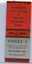 VOGEL'S ON U.S. ROUTE 41 HAMMOND, IND  MATCHBOOK COVER