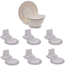 Tea Cup And Saucer Display Stand Holder China Teacup Rack Easel Clear Six Pack